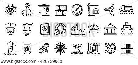 Marine Port Icons Set. Outline Set Of Marine Port Vector Icons For Web Design Isolated On White Back