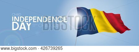 Chad Happy Independence Day Greeting Card, Banner With Template Text Vector Illustration