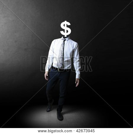 Open minded man with Dollar Sign inside thinking