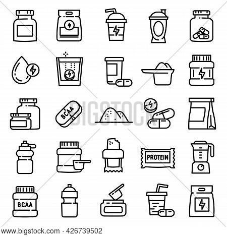 Sport Nutrition Icons Set. Outline Set Of Sport Nutrition Vector Icons For Web Design Isolated On Wh