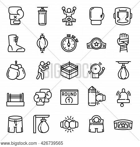 Boxing Icon. Outline Boxing Vector Icon For Web Design Isolated On White Background