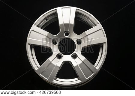New Silver Alloy Wheels For Suvs On Black Background