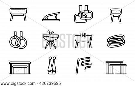 Gymnastics Equipment Icons Set. Outline Set Of Gymnastics Equipment Vector Icons For Web Design Isol