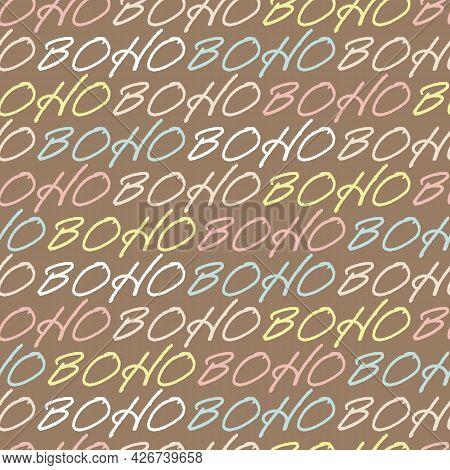 Vector Pastel Lettering Boho Ocher Repeat Pattern