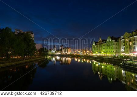 Russia, Kaliningrad 05 June 2021 Night Photography. The Moon Is Shining. The Central Part Of The Cit