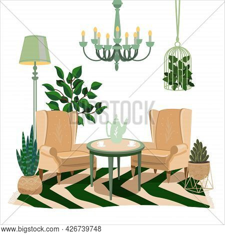 Living Room Vintage Interior. Two Comfortable Soft Armchairs In Pastel And Green Colors. Soft Chairs