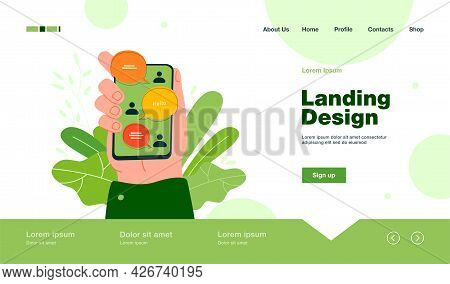 Hand Holding Smartphone With Online Chat Interface, Sent And Received Messages On Screen. Vector Ill
