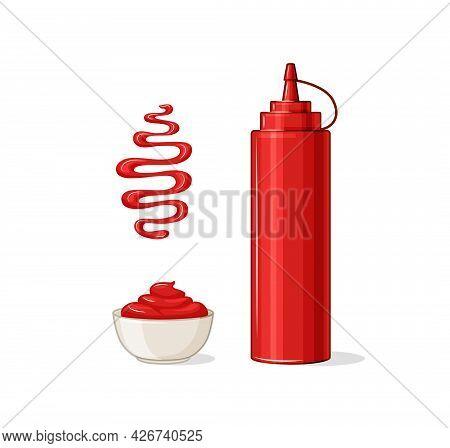 Ketchup Vector Set. A Bottle, A Gravy Boat, A Spot Of Ketchup.