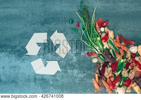 Recycling Sign With Organic Waste. Garbage Sorting. Environmentally Responsible Behavior, Ecology Co