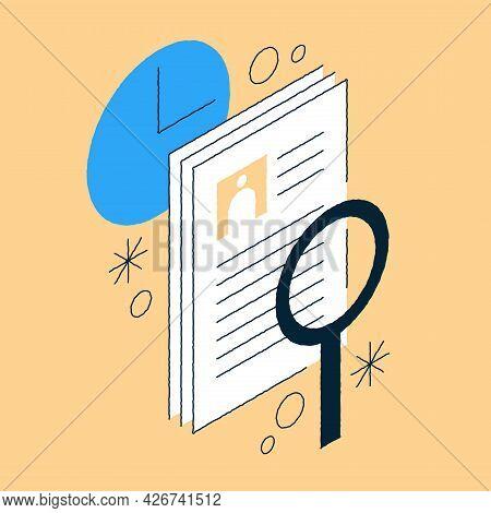 Job Recruiting Isometric Illustration. Hand Drawn Hr Professional Occupation, Searching Cv Summary,