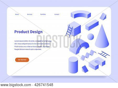 Product Design Landing Page Concept Horizontal Template With Abstract Geometrical Share. Ecommerce S