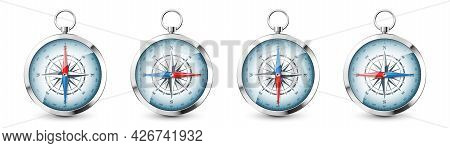 Realistic Silver Vintage Compass With Marine Wind Rose And Cardinal Directions Of North, East, South