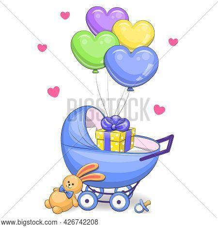 Cute Cartoon Blue Boy Pram Stroller, Toy, Babies Dummy, Gift And Balloons. Vector Illustration Isola