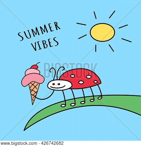 Ladybug With Ice Cream On Leaf With Shining Sun On Blue Sky Summer Vibes Funny Cartoon Colored Cute