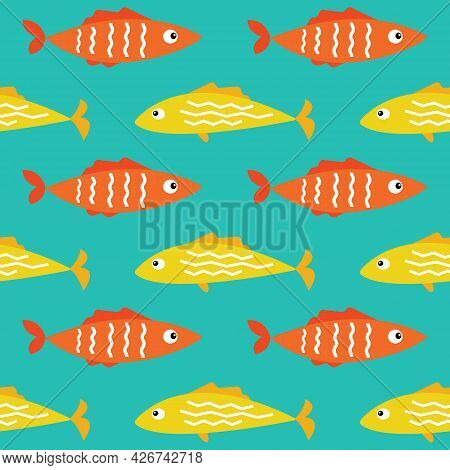 Seamless Pattern Background Texture With Colorful Yellow And Orange Cartoon Flat Tropical Sea Fish.