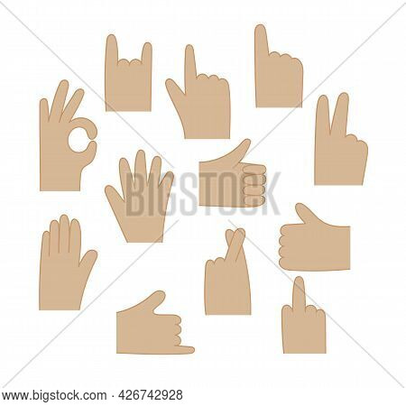 Vector Human Hand Gestures Set. Different Gesture Palm Isolated On White Background, Communication L