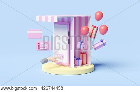 Mobile Phone Or Smartphone With Store Front,cylinder Podium,businessman Hand,gift Box,credit Card Is