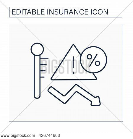Risk Line Icon. Threat Or Peril Which Insurance Company Has Agreed To Insure Against In Policy Wordi