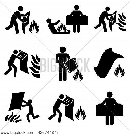 Set Of Fire Blanket Black Icon, Vector Illustration, Isolate On White Background Label. Eps10