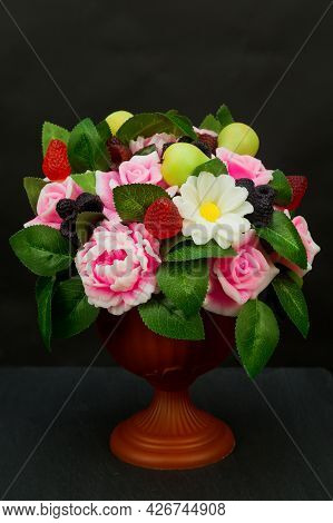 Exclusive Handmade Soap In The Form Of Roses Peonies Daisies Berries And Fruits In A Vase On A Black