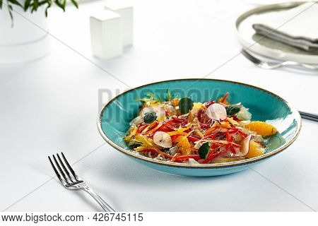 Fish Fillet Ceviche, Fresh-marinated Fish In Citrus Juice With Fresh Vegetables And Orange Slices, M