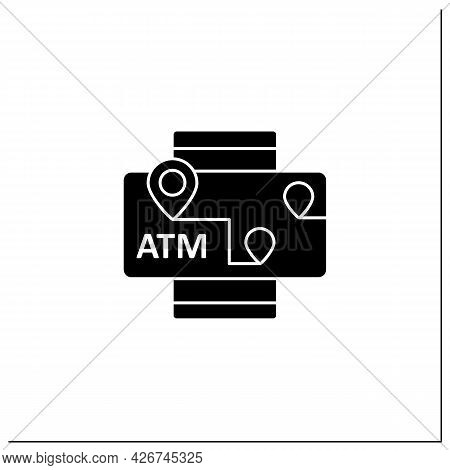 Atms Mobile Map Glyph Icon. Location Automated Teller Machine.marker With Atm Cashpoint Bank. Gps Lo
