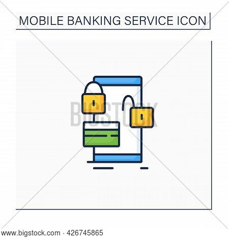 Lock And Unlock Card Color Icon. Protection Owns Credit And Debit Cards. Saving Money Using Banking