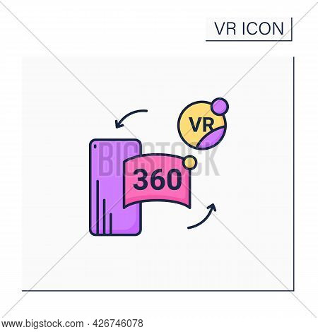 Vr In Cell Phone Color Icon. Virtual Reality Application On Telephone. Special App Helps Immerse Int