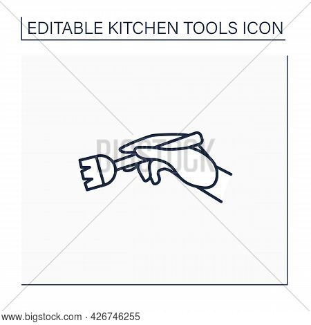 Brush Line Icon. Silicone Basting. Spread Butter, Oil Or Glaze On Food. Cooking Utensils. Kitchen To