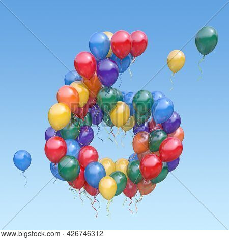 Number 6 six from balloons in the sky. Text letter for age, holiday, birthday, celebration. 3d illustration