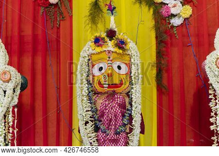 Idol Of Hindu Goddess Suvodra Is Being Worshipped With Garlands For Rath Jatra Festival - At Howrah,