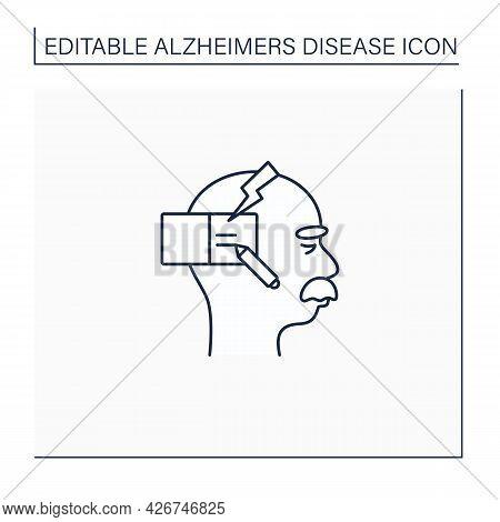 Writing Problems Line Icon.writing Gets Progressively Disorganized. Alzheimer Disease. Neurologic Di