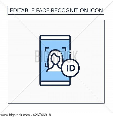 Face Id Line Icon. Authentication By Facial Recognition.biometric Face Scanning.identity Detection C