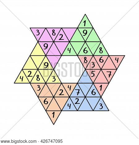 Star Sudoku Game For Adults And Children Vector Illustration. Colorful Unusual Sudoku Puzzle. Comple