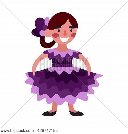 Happy Cartoon Young Dancer Girl In A Purple Dress Isolated On White Vector Illustration. Pretty Girl