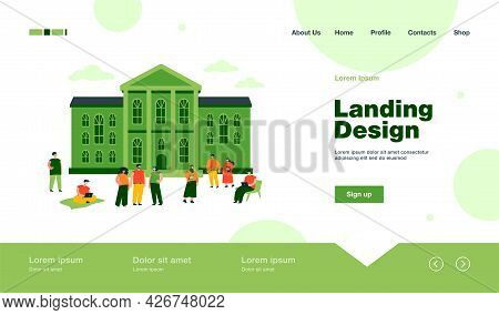 Happy Mix-raced Students Walking In Front Of University Building Flat Vector Illustration. Cartoon P
