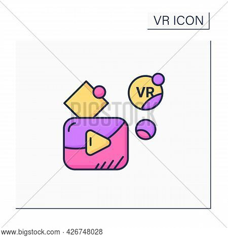 Vr Player Color Icon. Customizable Media Player For High Definition Vr Video Playback, Immersive Med