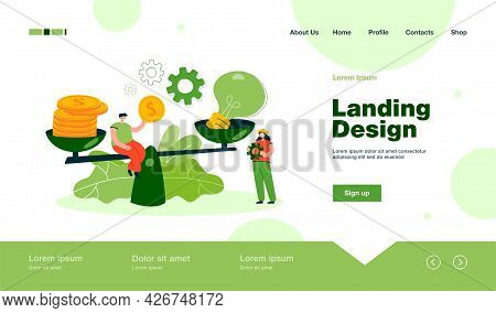 Creative Tiny People Giving Price For Idea With Scales Flat Vector Illustration. Cartoon Character B