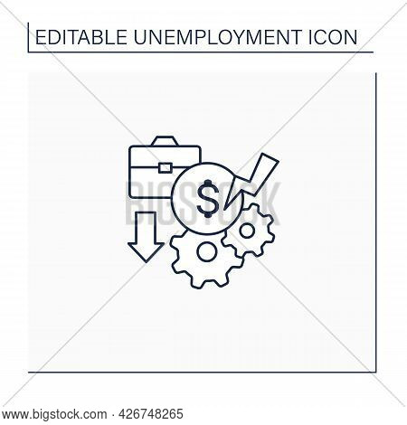 Pay Cuts Line Icon. Reducing Salary, Payment, Compensation, Budget Cutting. Unemployment Concept. Is