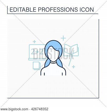Teacher Line Icon. Educator. Woman Teaches Other People. Share Acquire Knowledge, Competence, Virtue