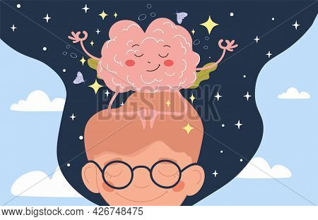 Calm Brain Meditation To Relax Balance Or Mental Wellness Concept. Boy And Organ Character With Cute