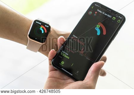 Bangkok, Thailand - July 13, 2021: Apple Activity App On Iphone Sync With Apple Watch, Application D