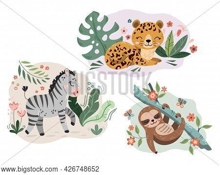 Jungle Cute Cartoon Hand Drawn Animal Characters Collection. Sloth, Jaguar, Zebra. Fabric Shirt Surf