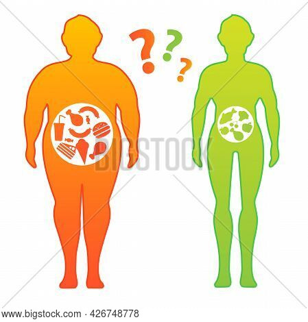 Weight Loss Concept. Before And After Diet And Fitness. Body With Different Weight. Healthy Lifestyl