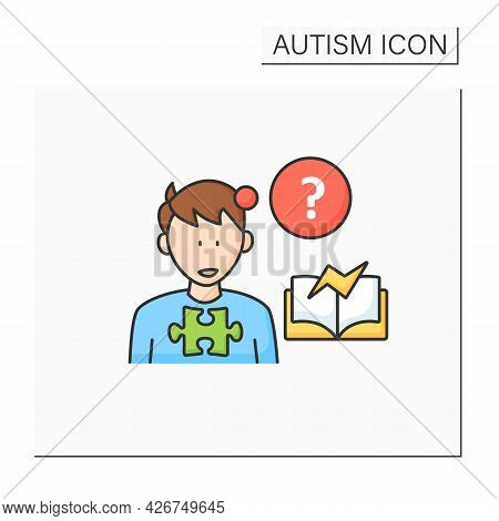 Neurodevelopmental Disorder Color Icon.learning Disability, Difficulty.abnormal Learning Ability. Au