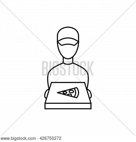 Courier Delivered The Pizza Linear Icon. Vector Illustration