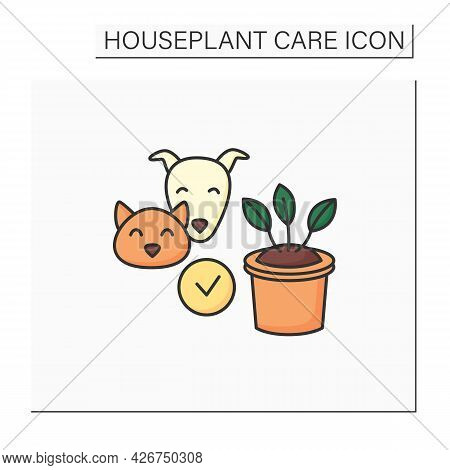 Gardening Color Icon. Safe Plants For Cats And Dogs.home Gardening. Houseplant Care Concept.isolated