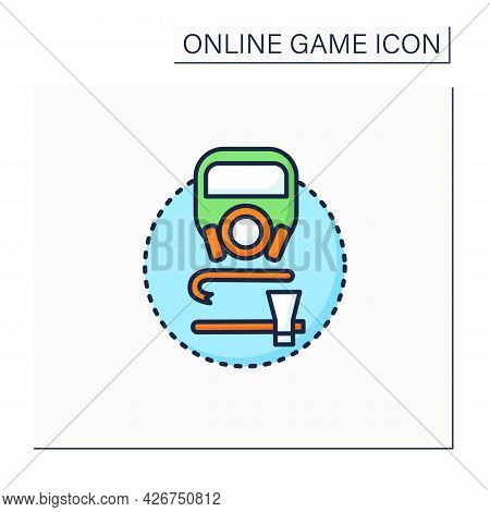 Survival Game Color Icon. Action Video Games. Hostile, Open-world Environments. Minimal Equipment Re