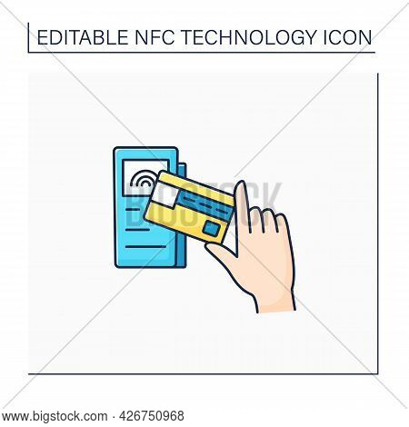 Nfc Color Icon. Credit Card For Payment.banking Terminal. Near Field Communication. Contactless Paym