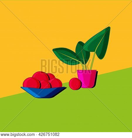 Stylized Still Life With Fruit And Plant. Colorful Flat Illustration. Element For Design.  Vector.